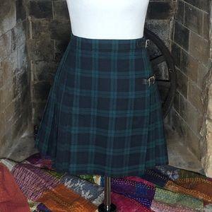 Vintage 90's Free People Plaid Pleated Mini Skirt